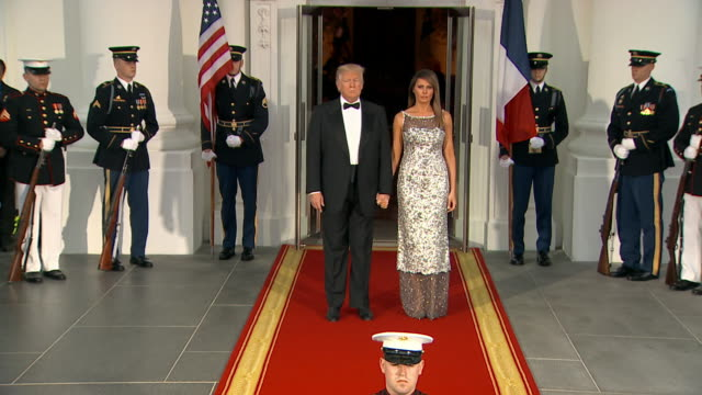president donald trump and first lady melania trump come outside the white house to greet president emmanuel macron and first lady brigitte macron at... - dinner lady stock videos & royalty-free footage