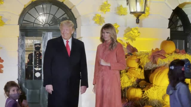 president donald trump and first lady melania trump greet guests on the south lawn of the white house on october 25 2020 in washington dc - white house washington dc stock videos & royalty-free footage