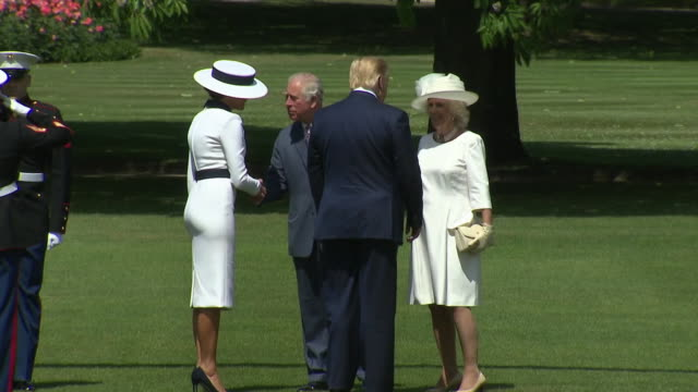 president donald trump and first lady melania trump greet prince charles, prince of wales and camilla, duchess of cornwall for a ceremonial welcome... - united states and (politics or government) stock videos & royalty-free footage