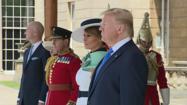 president donald trump and first lady melania trump receive a ceremonial welcome at buckingham palace in london, england. - united states and (politics or government) stock videos & royalty-free footage