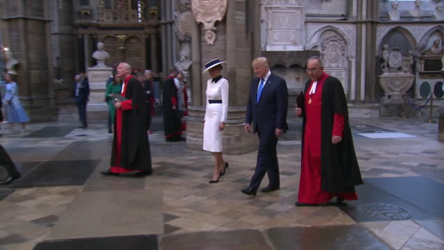 president donald trump and first lady melania trump receive a tour of westminster abbey from the dean of westminster, john hall, in london, england. - united states and (politics or government) stock videos & royalty-free footage