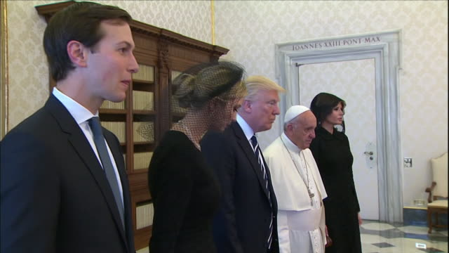 president donald trump and first lady melania trump smile as ivanka trump and jared kushner shake hands with pope francis at vatican city. cameras... - religion or spirituality stock videos & royalty-free footage