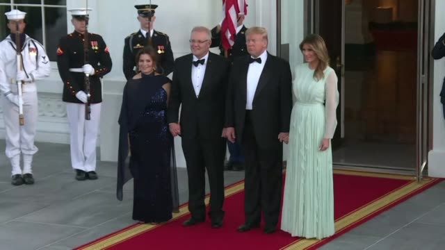 president donald trump and first lady melania trump welcome australia's prime minister scott morrison and his wife jennifer morrison at the white... - state dinner stock videos & royalty-free footage