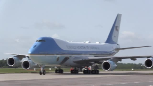 us president donald trump and his wife melania arrive at stansted airport in essex aboard air force one for the start of his three day state visit to... - air force one stock videos & royalty-free footage