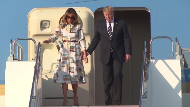 us president donald trump and his wife melania arrive in japan for a fourday trip likely to be dominated by warm words and friendly images but... - us president stock videos & royalty-free footage