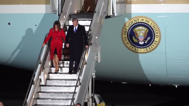 president donald trump and his wife melania arrive on airforce one at stansted airport ahead of the london nato summit - melania trump stock videos & royalty-free footage
