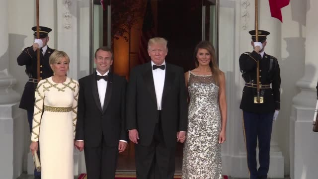 president donald trump and his wife melania welcome his french counterpart emmanuel macron and his wife brigitte for their first state dinner at the... - state dinner stock videos & royalty-free footage