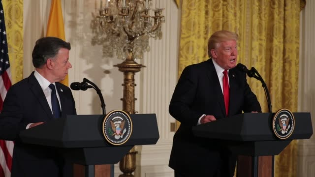 president donald trump and president juan manuel santos of colombia, held a joint press conference in the east room of the white house, on thursday,... - juan manuel santos stock videos & royalty-free footage