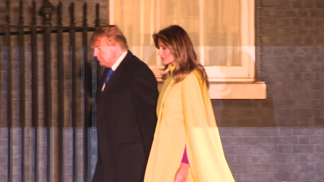 us president donald trump and wife melania arrive at 10 downing street for reception during nato summit - melania trump stock videos & royalty-free footage