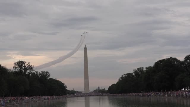president donald trump announces military aircraft flying over lincoln memorial on july 4th independence day celebration - fourth of july stock videos & royalty-free footage