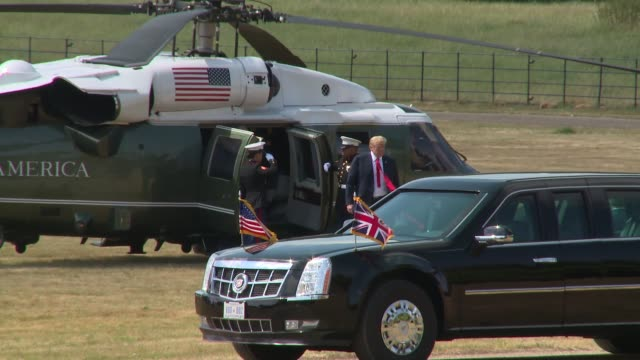 president donald trump arrives aboard marine one at on july 13 2018 in aylesbury england - donald trump us president stock videos and b-roll footage