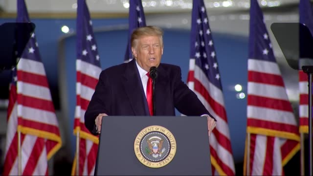 president donald trump asks supporters at an outdoor campaign rally at central wisconsin airport if they ever saw debates where all the anchors and... - defeat stock videos & royalty-free footage