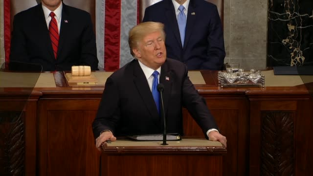 president donald trump at a joint session of congress during his first state of the union address announces he had signed an order directing a... - rede zur lage der nation usa stock-videos und b-roll-filmmaterial