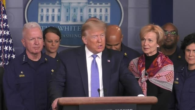 president donald trump congratulates fed after drastic virus measures and assures that the supply chain is intact in the us, as he speaks at a press... - press room stock videos & royalty-free footage