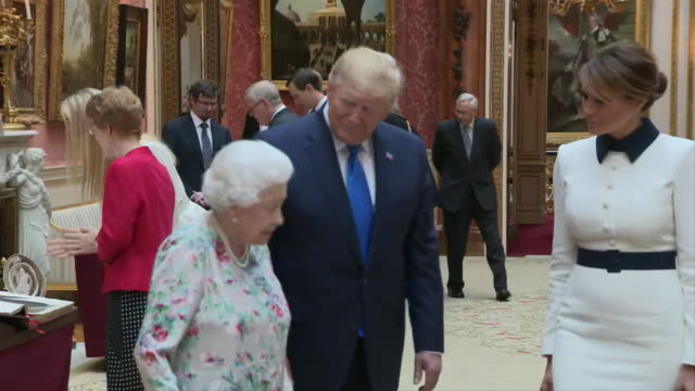 president donald trump, first lady melania trump and queen elizabeth ii view displays from the royal collection at buckingham palace in london,... - united states and (politics or government) stock videos & royalty-free footage