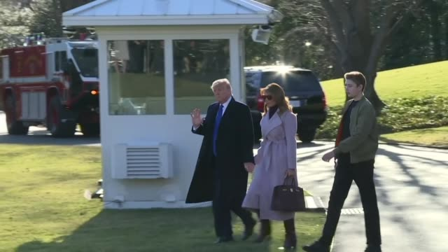 us president donald trump first lady melania trump and their son barron depart the white house in washington dc and board marine one as they make... - lago stock videos & royalty-free footage