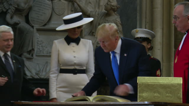 us president donald trump first lady melania trump sign the visitors book at westminster abbey on june 3 2019 in london england - donald trump us president stock videos and b-roll footage