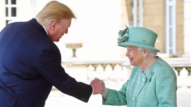 president donald trump has arrived in the uk for a state visit. take a look at his first day in pictures. - state dinner stock videos & royalty-free footage