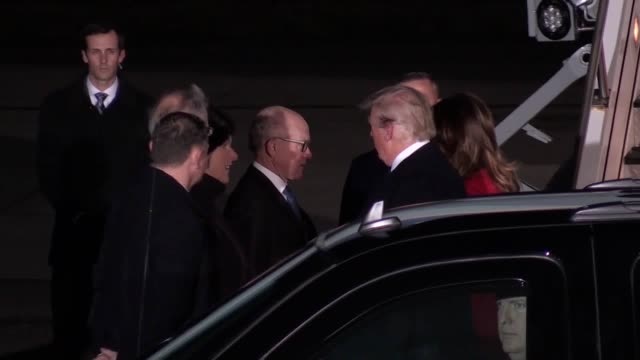 us president donald trump has arrived in the uk for nato's 70th anniversary summit the president arrived at stansted airport aboard air force one... - air force one stock videos & royalty-free footage
