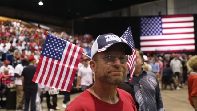 President Donald Trump holds a Make America Great Again Rally at the Florida State Fair Grounds Expo Hall on July 31 2018 in Tampa Florida Before the...