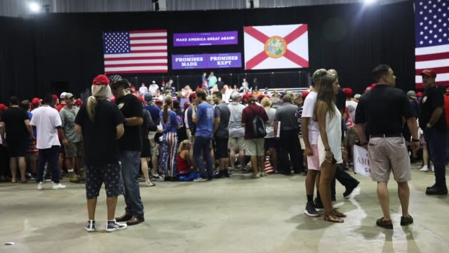 president donald trump holds a make america great again rally at the florida state fair grounds expo hall on july 31, 2018 in tampa, florida. before... - tampa stock videos & royalty-free footage