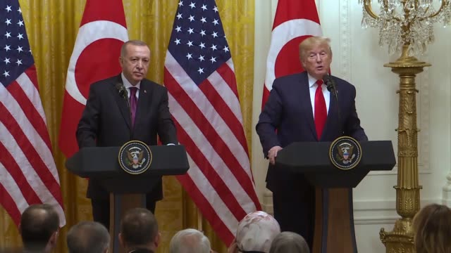 president donald trump holds a press conference with his turkish counterpart recep tayyip erdogan after their meeting at the white house in... - recep tayyip erdoğan stock videos & royalty-free footage
