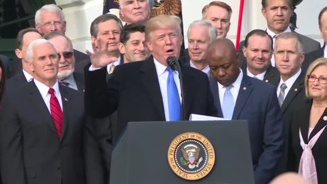 president donald trump insists we are making america great again as he celebrates the passage of the republican tax cut plan with members of congress... - cut video transition stock videos & royalty-free footage