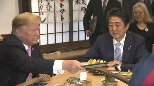 president donald trump japanese prime minister shinzo abe and their wives at dinner may 26th 2019 location minato ward tokyo us president donald... - japanese food stock videos & royalty-free footage