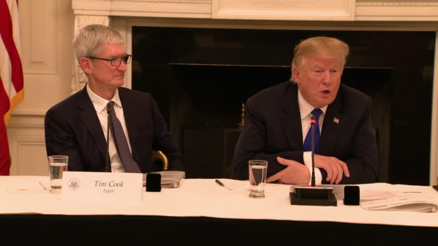 us president donald trump mistakenly refers to apple ceo tim cook as òtim appleó during an american workforce policy advisory board meeting on march... - ngクリップ点の映像素材/bロール