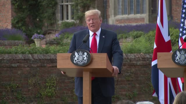 president donald trump on his relationship with president putin and russia on july 13 2018 in aylesbury england - president trump stock videos and b-roll footage