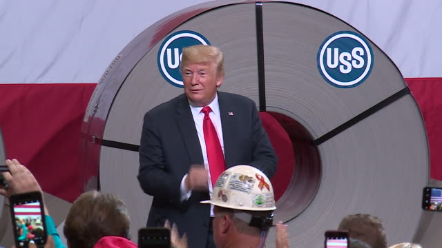wgn president donald trump on july 26 visited an illinois steel mill granite city works marking his first trip to illinois since becoming president... - steel worker stock videos & royalty-free footage