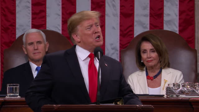 vidéos et rushes de president donald trump presents the 2019 state of the union to the nation, in front of a joint session of congress. - président