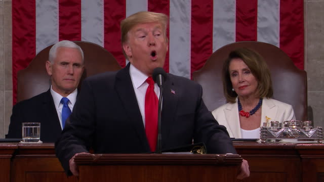 president donald trump presents the 2019 state of the union to the nation, in front of a joint session of congress. this is a smart, strategic,... - concrete wall stock videos & royalty-free footage