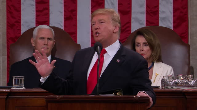 president donald trump presents the 2019 state of the union to the nation in front of a joint session of congress and let us reaffirm a fundamental... - united states congress点の映像素材/bロール