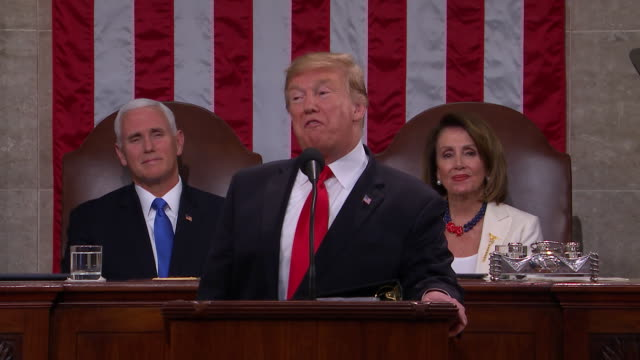 president donald trump presents the 2019 state of the union to the nation in front of a joint session of congress we have unleashed a revolution in... - united states congress点の映像素材/bロール