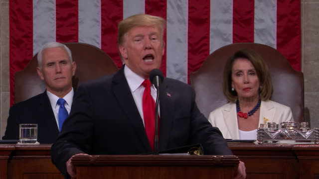 vidéos et rushes de president donald trump presents the 2019 state of the union to the nation, in front of a joint session of congress. my administration has sent to the... - united states and (politics or government)