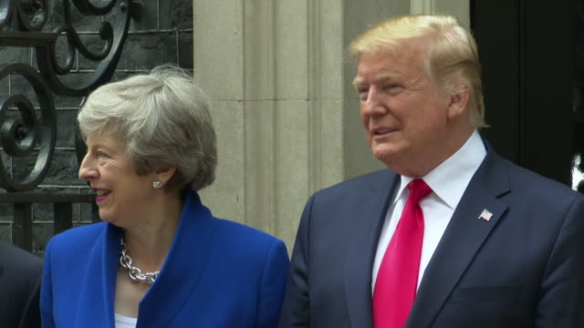 president donald trump prime minister theresa may at downing street at donald trump uk visit on august 08 2019 in london united kingdom - donald trump us president stock videos and b-roll footage