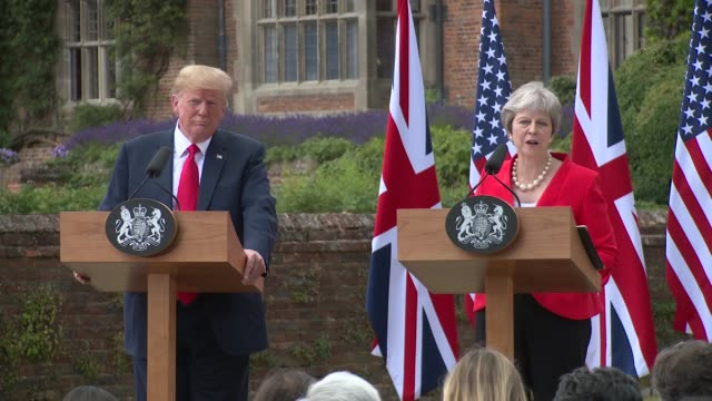 president donald trump prime minister theresa may on brexit on july 13 2018 in aylesbury england - donald trump us president stock videos and b-roll footage