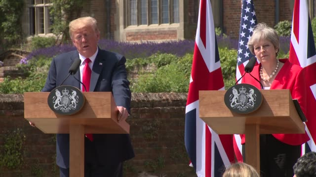 president donald trump prime minister theresa may respond to allegations that mr trump insulted mrs may by stating their closeness and plans for the... - ekel stock-videos und b-roll-filmmaterial
