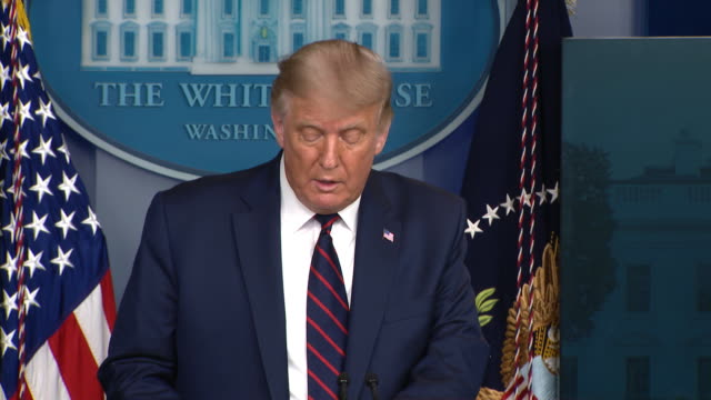 president donald trump remarks on the fda emergency authorization of convalescent plasma for the treatment of covid-19 during a press conference in... - press room stock videos & royalty-free footage