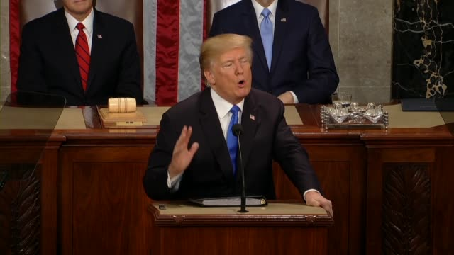 president donald trump says at a joint session of congress during his first state of the union address to rebuild the nuclear arsenal, hopeful that... - nuclear weapon stock videos & royalty-free footage