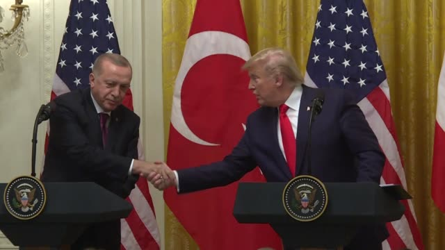 president donald trump says he is a big fan of his visiting turkish counterpart recep tayyip erdogan despite opposition from many in congress to the... - recep tayyip erdoğan stock videos & royalty-free footage