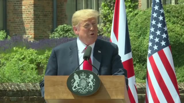 president donald trump says he is ok with british prime minister theresa may's brexit strategy and is hopeful the two countries could strike a trade... - prime minister video stock e b–roll
