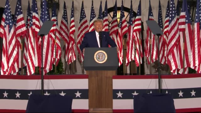 president donald trump says in live broadcast remarks to the republican national convention on the white house south lawn before an audience that... - politische wahl stock-videos und b-roll-filmmaterial