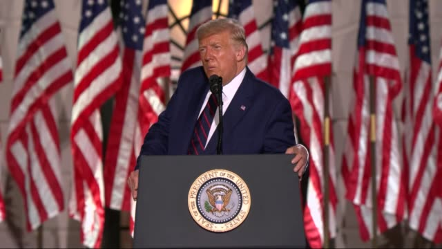 president donald trump says in live broadcast remarks to the republican national convention on the white house south lawn before an audience that... - live broadcast stock videos & royalty-free footage