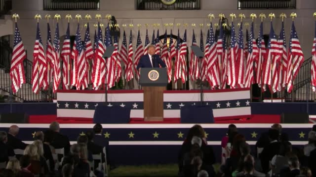 vidéos et rushes de president donald trump says in live broadcast remarks to the republican national convention on the white house south lawn before an audience that... - pennsylvanie