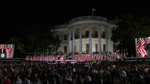 vídeos de stock e filmes b-roll de president donald trump says in live broadcast remarks to the republican national convention on the white house south lawn before an audience that... - milagres