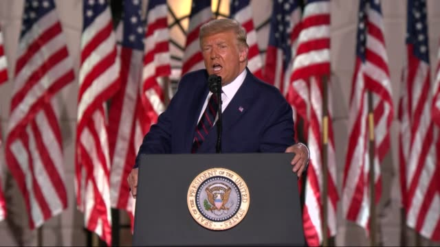 president donald trump says in live broadcast remarks to the republican national convention on the white house south lawn before an audience that his... - live broadcast stock videos & royalty-free footage