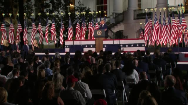 president donald trump says in live broadcast remarks to the republican national convention on the white house south lawn before an audience that... - pledge of allegiance stock videos & royalty-free footage