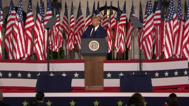 president donald trump says in live broadcast remarks to the republican national convention on the white house south lawn before an audience that he... - live broadcast stock videos & royalty-free footage
